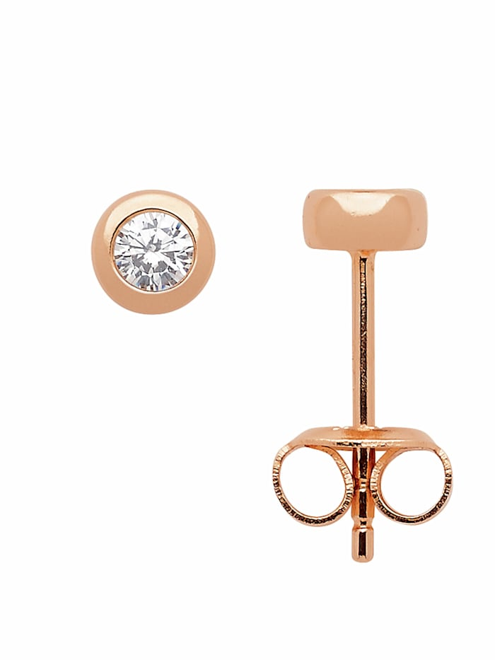 1001 Diamonds Damen Silberschmuck 925 Silber Ohrringe / Ohrstecker mit Zirkonia Ø 5 mm, rose