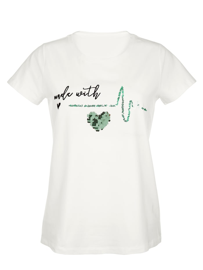 Shirt met pailletten en borduursel