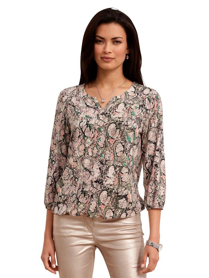 AMY VERMONT Shirt mit grafischem Muster, Beige/Grün/Rosé