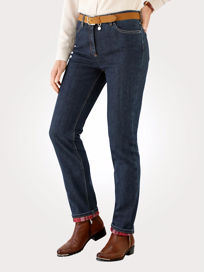 Toni Thermal jeans with check turn-back hem, Dark Blue/Red