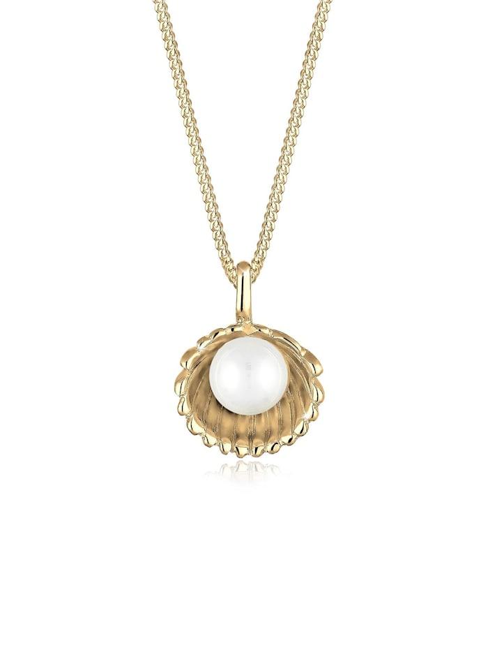 Elli Halskette Muschel Süßwasser-Perlenkugel 925 Sterling Silber, Gold