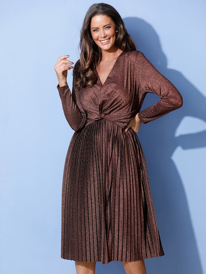 MIAMODA Robe à superbe effet drapé à la taille, Coloris bronze