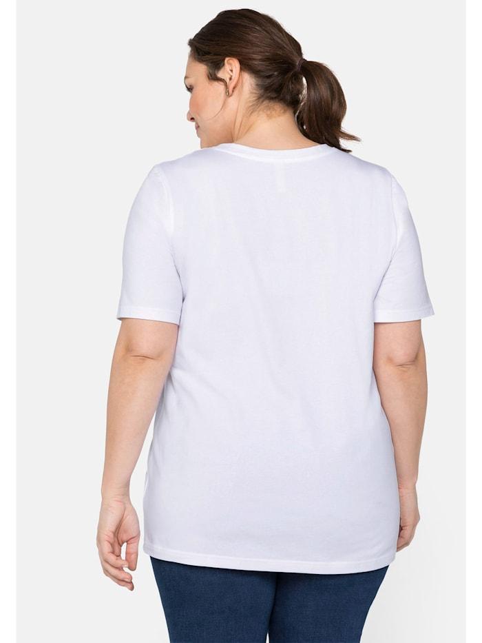 T-Shirt mit V-Ausschnitt und Frontdruck