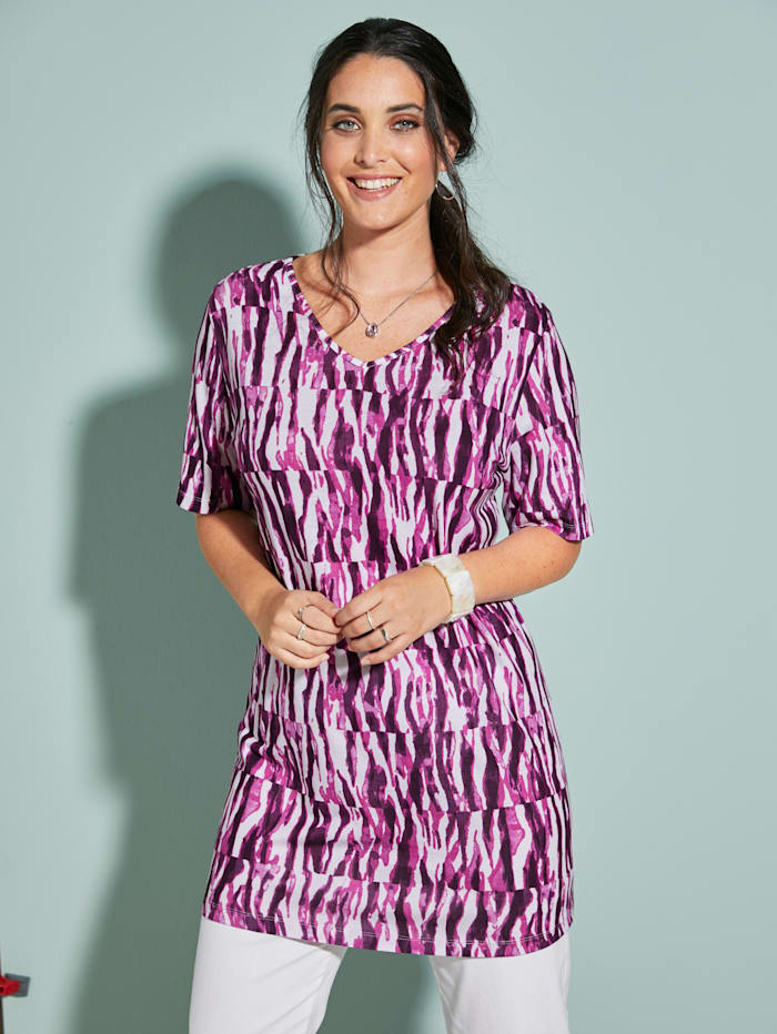 MIAMODA Longshirt mit streckendem V-Ausschnitt, Lila/Weiß