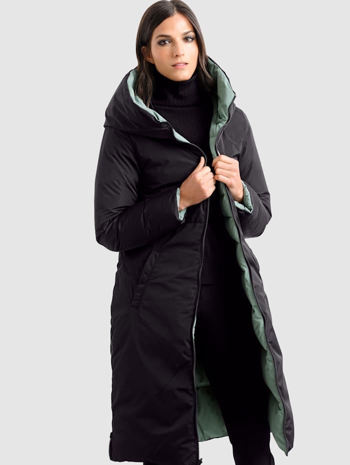 Alba Moda Prešívaný kabát s možnosťou obojstranného nosenia, Zelená/Čierna