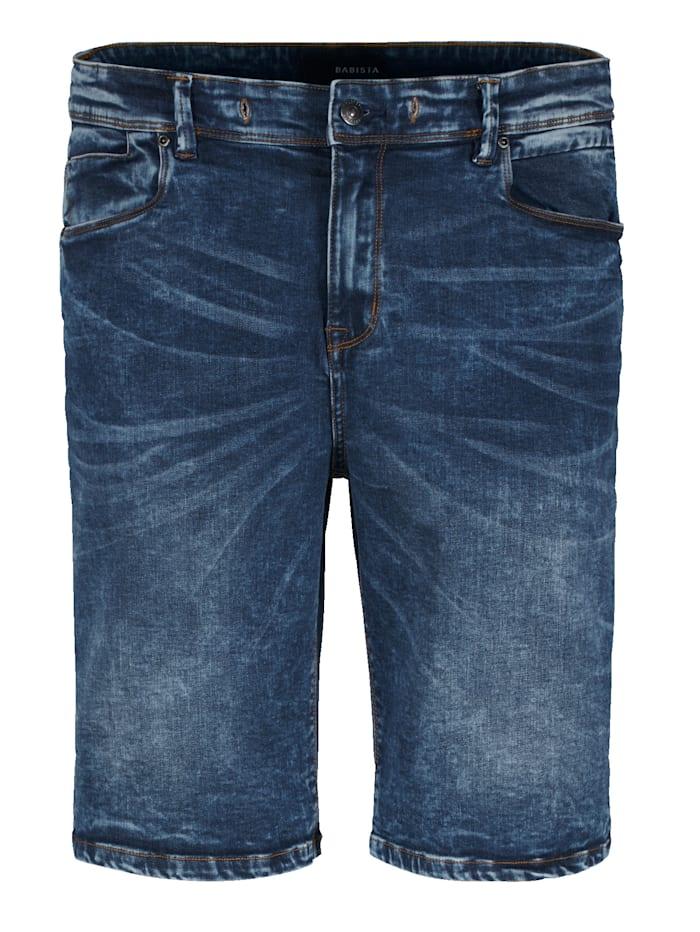 BABISTA Džínsové bermudy s módnym spraným vzhľadom, Modrá