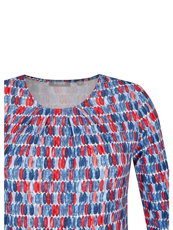 Shirt mit getupften Streifen und Raffungen