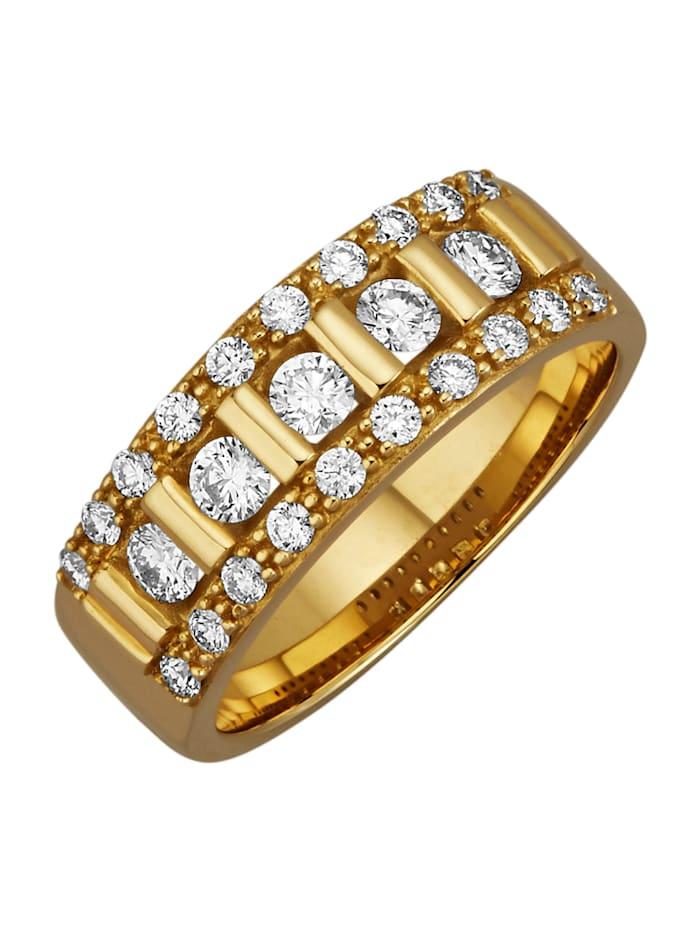 Diemer Diamant Damenring mit lupenreinen Brilannten, Gelbgoldfarben