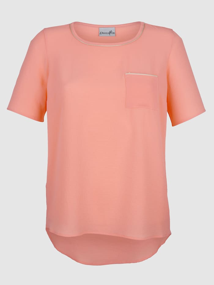 Dress In Blouse with gloss yarn detailing, Salmon Pink
