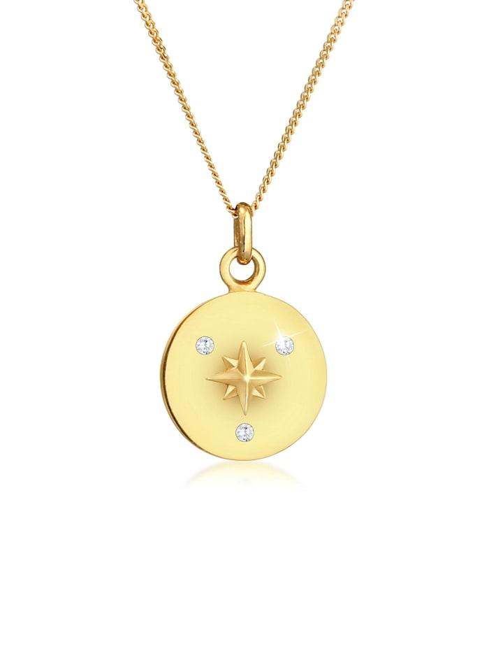 Elli Halskette Plättchen Coin Stern Zirkonia 925 Silber, Gold