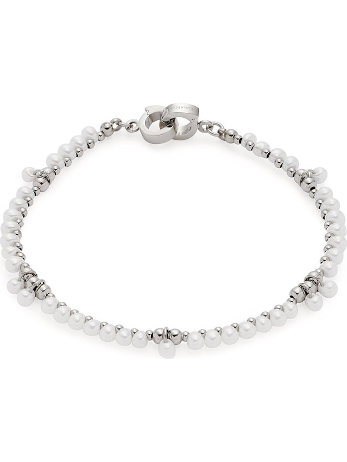 Leonardo Leonardo Damen-Armband Edelstahl, Glas, weiß
