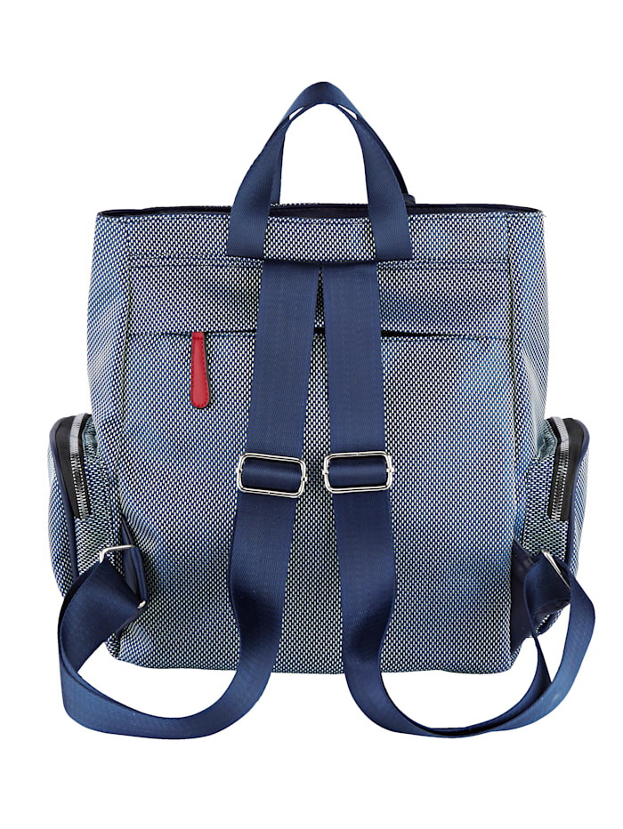 Backpack with a unique outer zip pocket