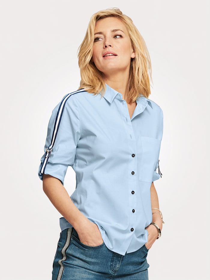 Blouse with roll-up sleeves