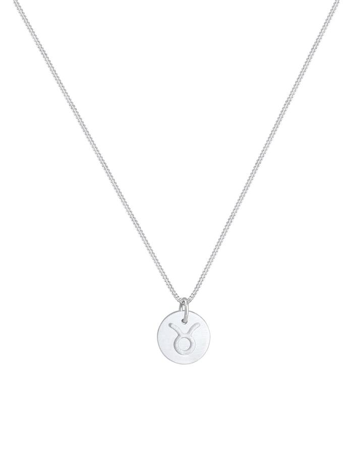 Halskette Sternzeichen Stier Astro Symbol Matt 925 Silber