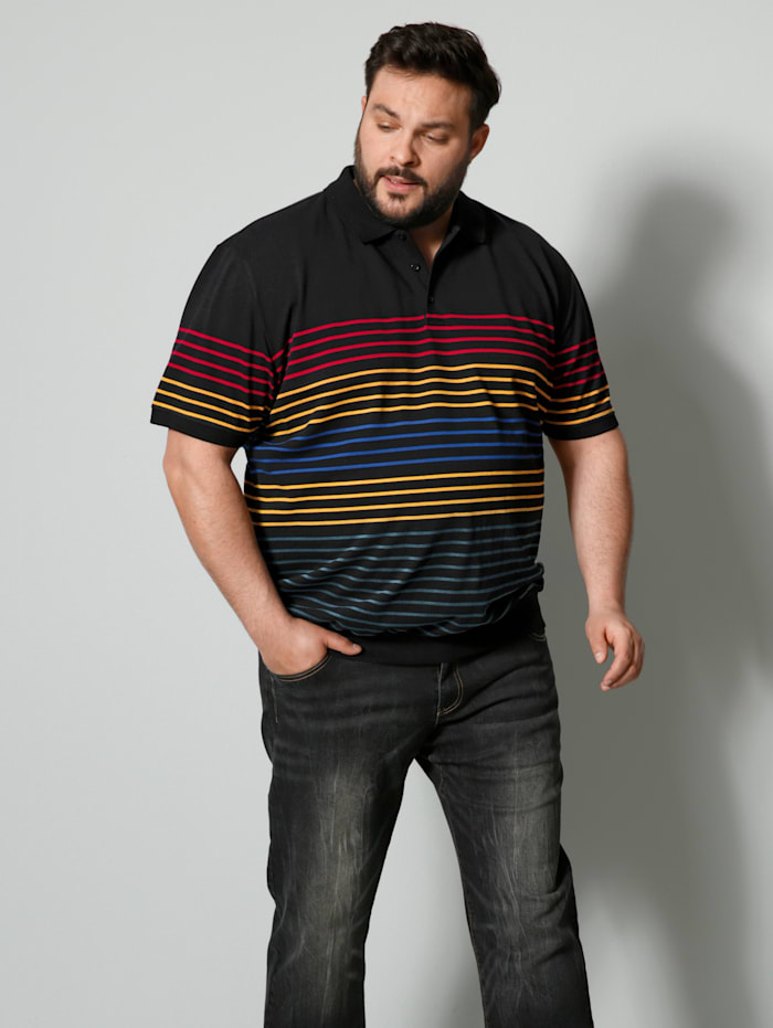 Men Plus Poloshirt Spezialschnitt, Schwarz/Gelb/Blau