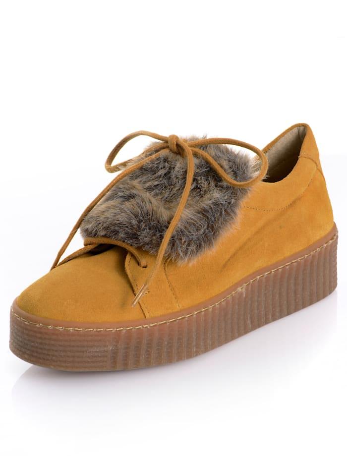 Alba Moda Sneaker met imitatievacht, Mosterdgeel/Bruin
