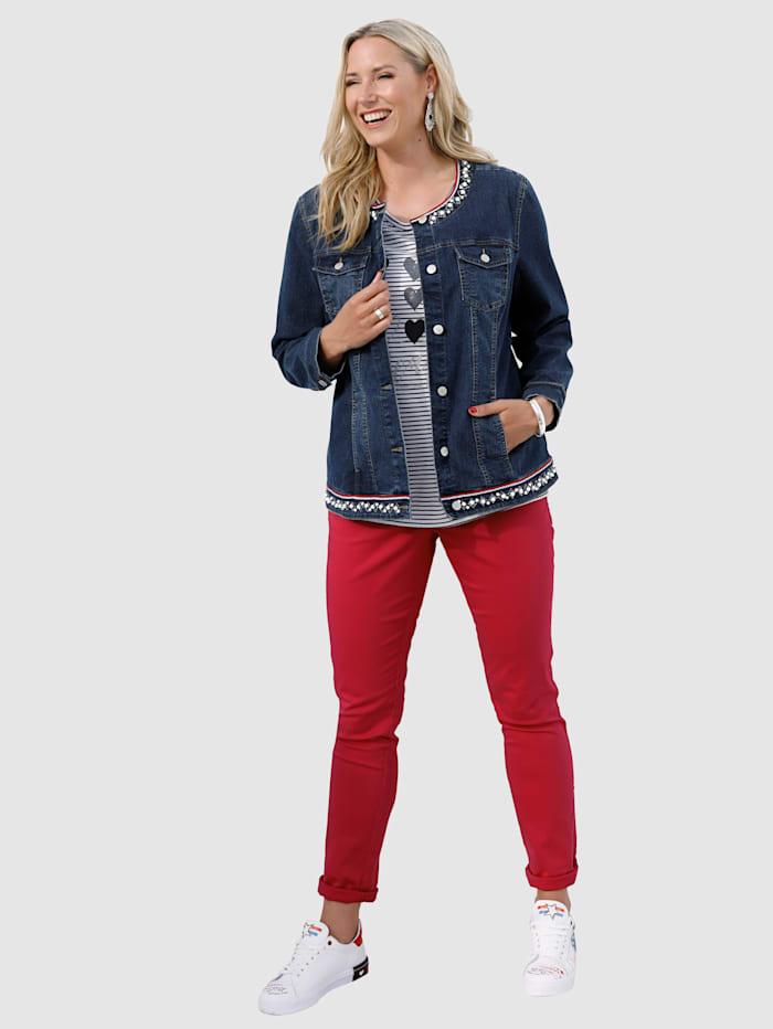 Jeansjakke med imiterte perler