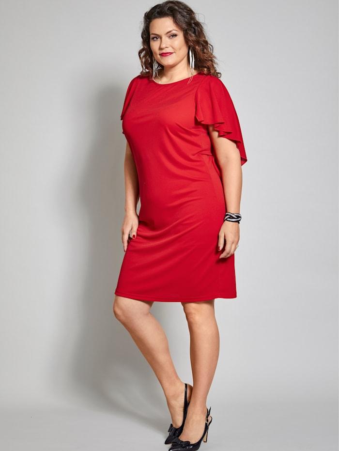 Sara Lindholm Jersey-Kleid mit Volants, Rot