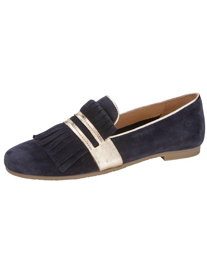 Filipe Shoes Loafer mit Zierfransen am Blatt, Marineblau