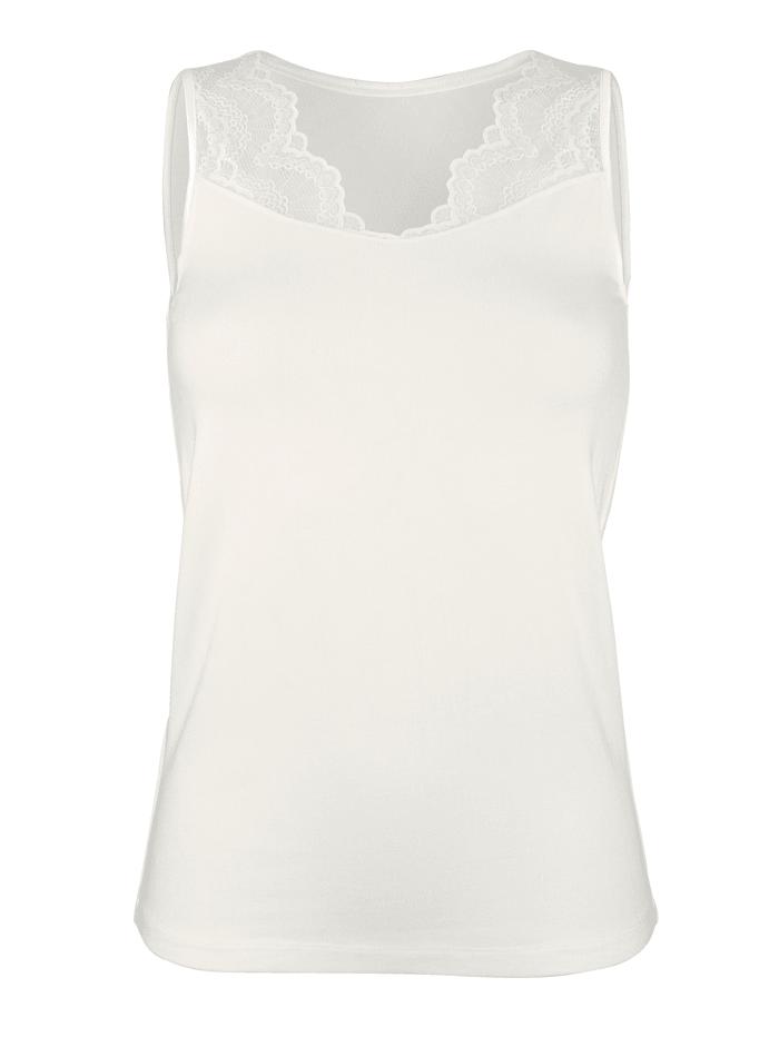 Blazershirts met kanten inzet aan de V-hals