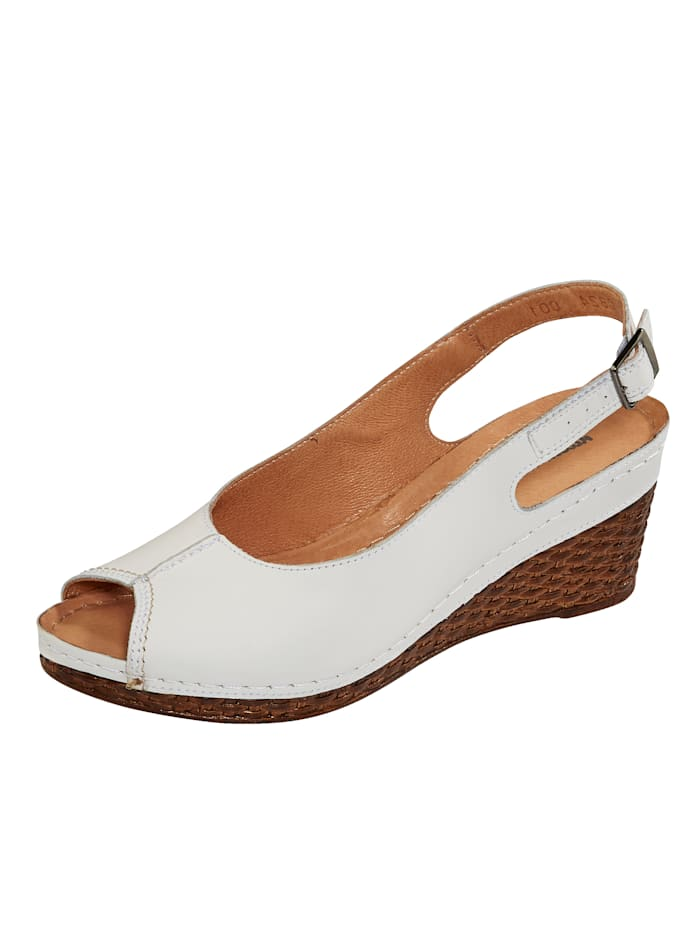 Naturläufer Slingback sandals with wedge heels, White