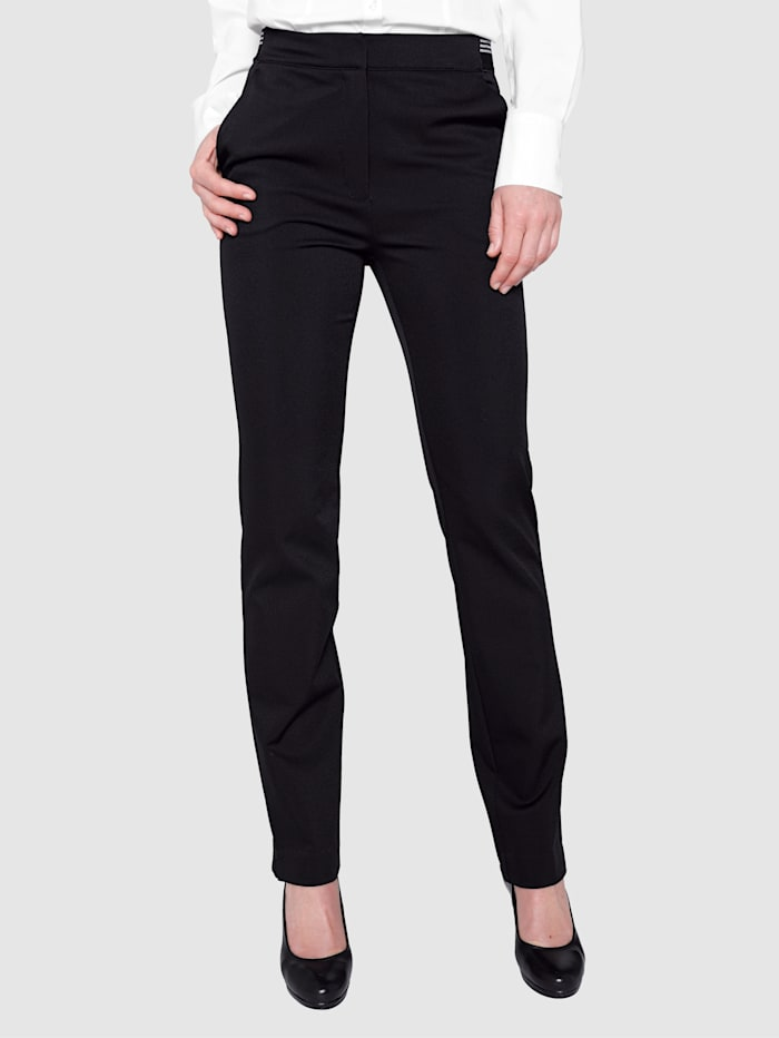 Paola Trousers with a partially elasticated waistband, Black