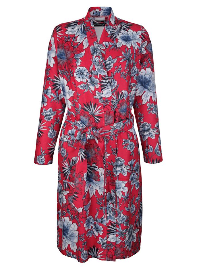Ringella Robe de chambre à superbe motif floral, Rouge/Blanc/Marine