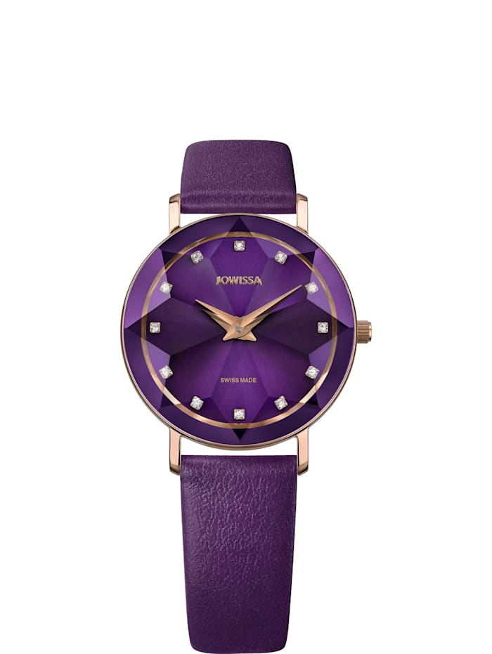 Jowissa Quarzuhr Facet Swiss Ladies Watch, violett