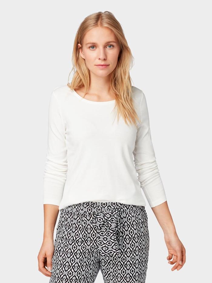 Tom Tailor Basic Langarmshirt, Whisper White