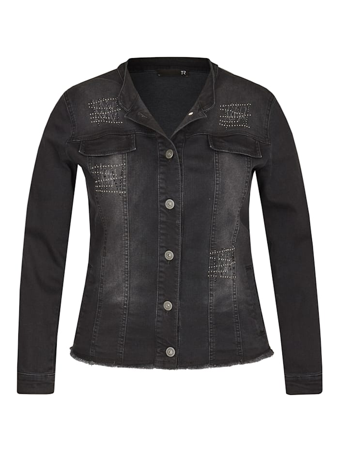 Thomas Rabe Jeansjacke in Used-Optik mit Glitzerdetails, SCHWARZ