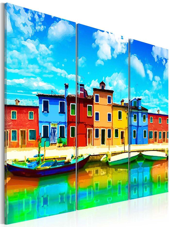 artgeist Wandbild Sunny morning in Venice, Orange,Weiß,Grün,Rot,Himmelblau,Gelb