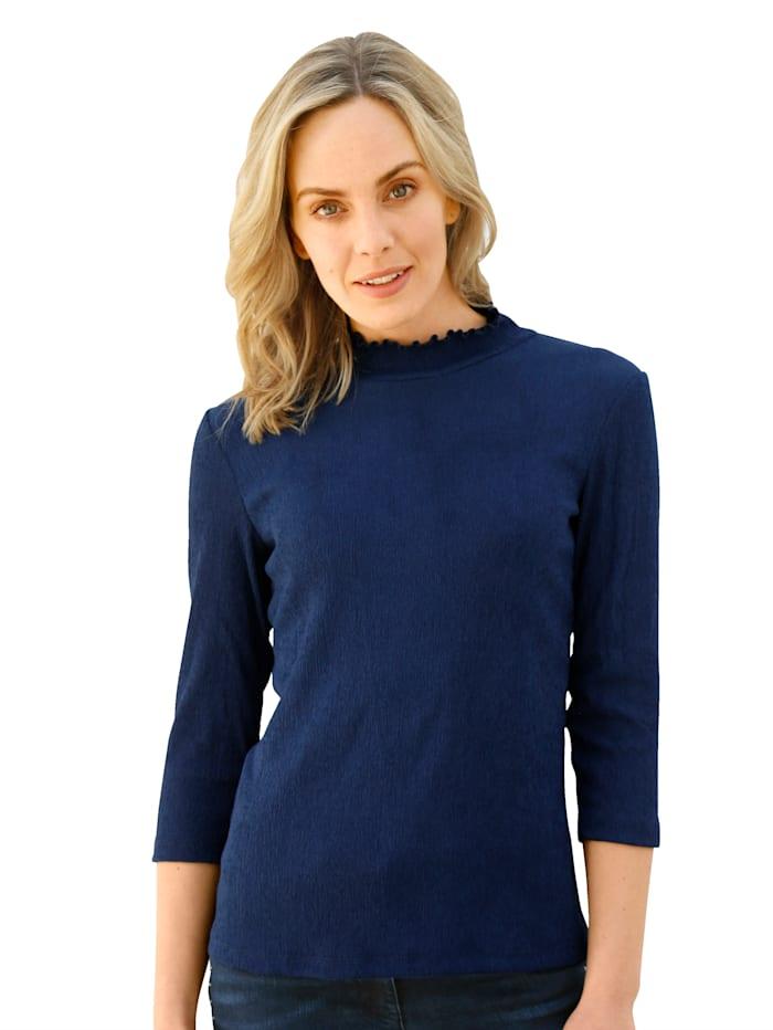 AMY VERMONT Stehbundshirt mit gerafftem Stehkragen, Blau