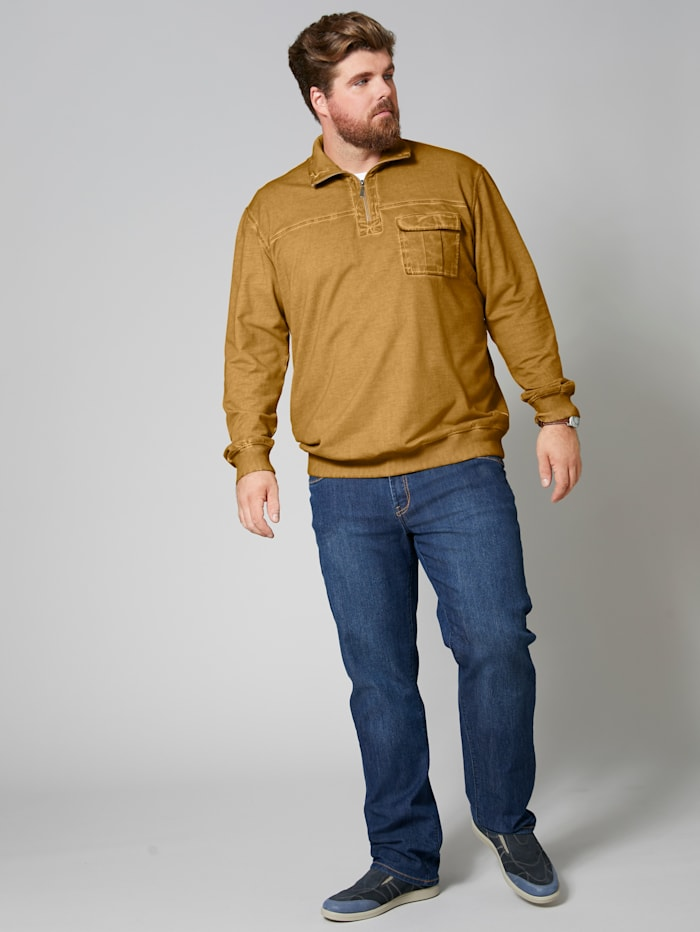 Men Plus Sweatshirt cool dyed, Ockergelb