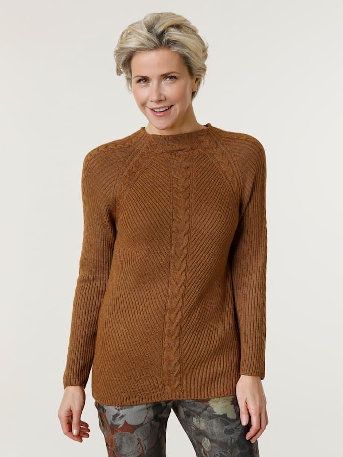 MONA Pullover mit modischem Zopfmuster, Cognac