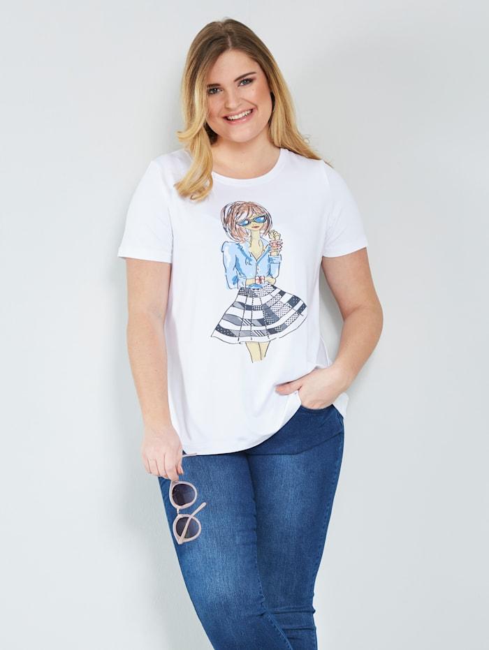 Sara Lindholm Shirt met print, Wit/Lichtblauw