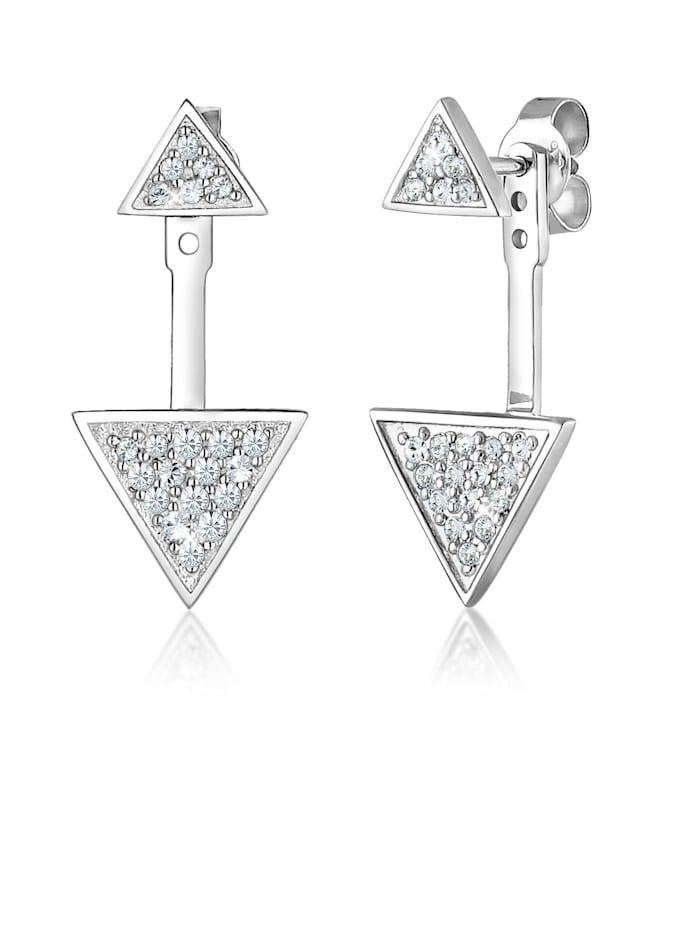 Elli Ohrringe Ear Jacket Geo Swarovski® Kristalle Silber, Silber