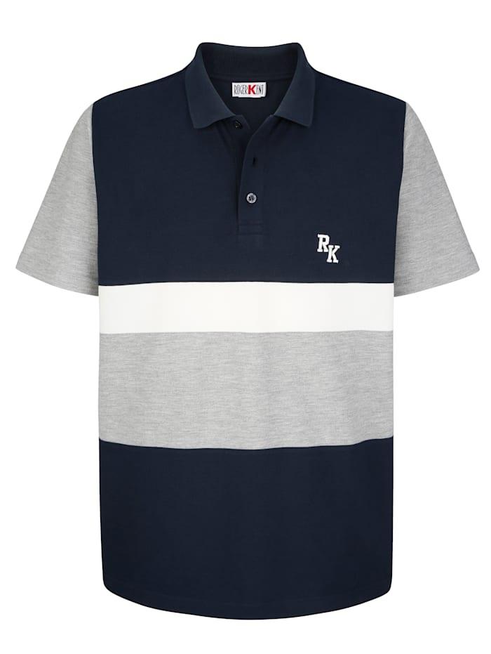 Roger Kent Poloshirt met contrastkleurige details, Marine/Grijs