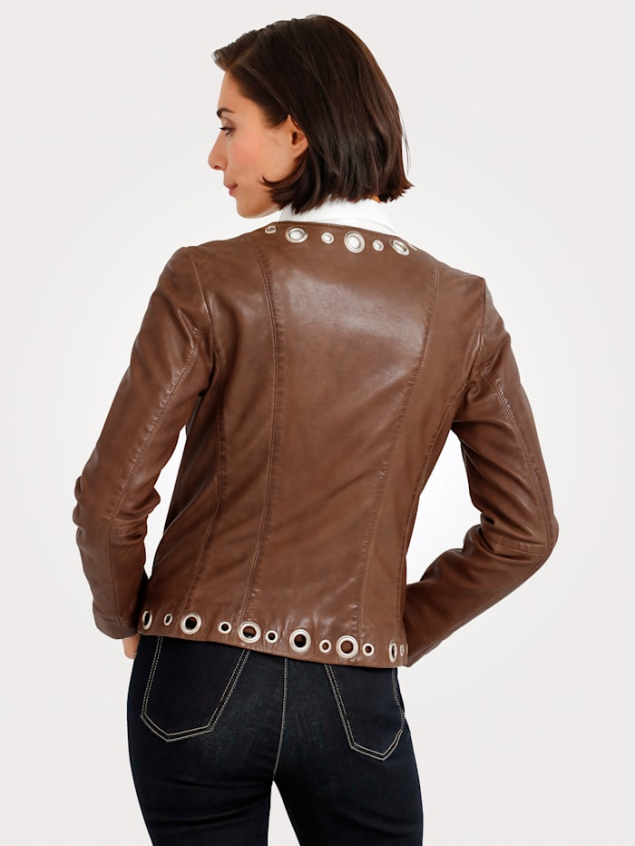Leather jacket with embellishments