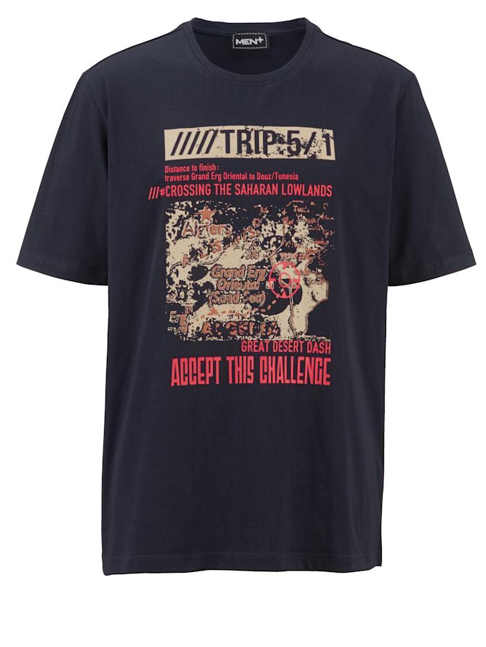 Men Plus Puuvillainen T-paita painatuksella, Laivastonsininen/Vaaleanpunainen