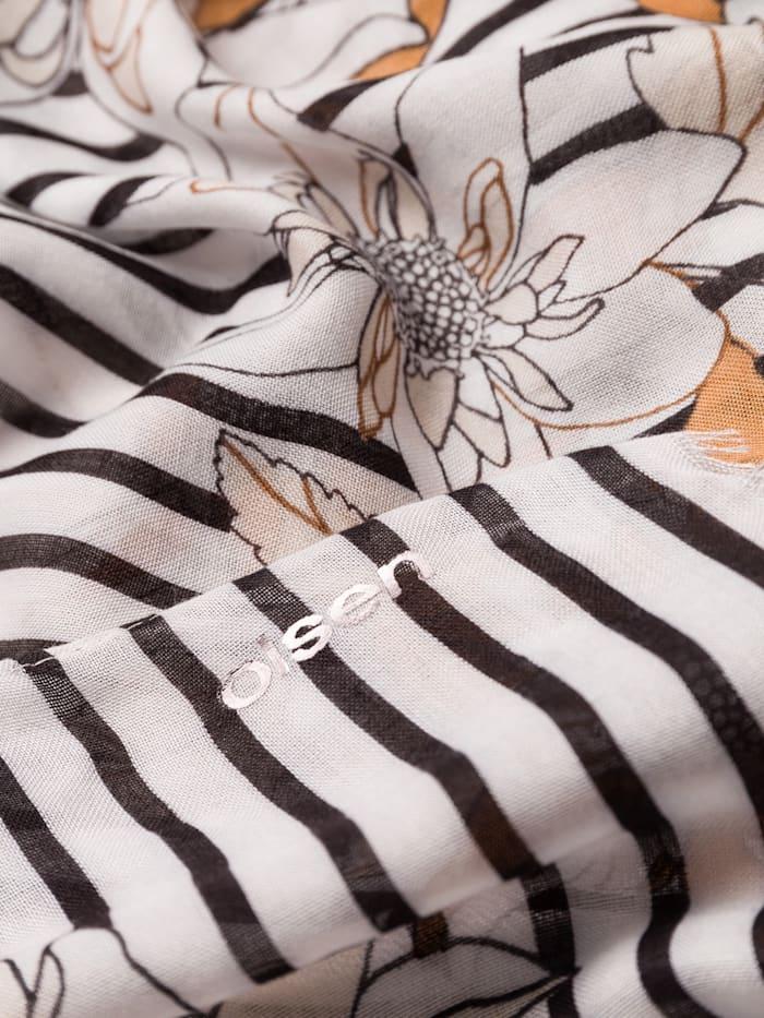 Modeschal mit Streifen und Blüten