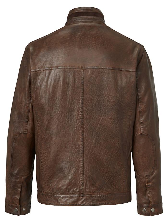 Kožená bunda s ľahkouštruktúrou