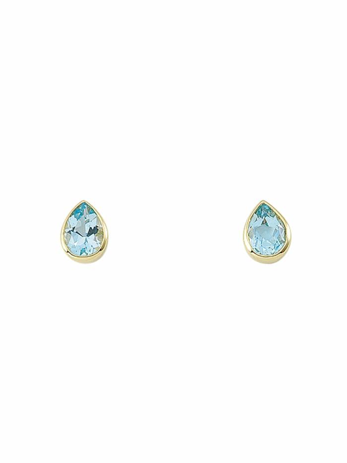 1001 Diamonds 1001 Diamonds Damen Goldschmuck 585 Gold Ohrringe / Ohrstecker mit Aquamarin, blau