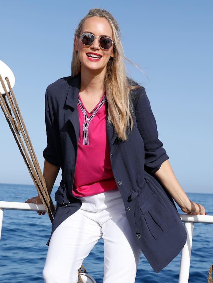 MIAMODA Blusenjacke in sommerleichter Qualität, Marineblau