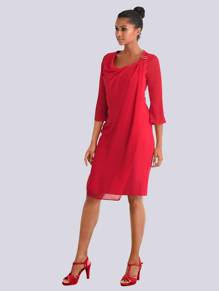 Alba Moda Kleid mit Chiffon-Lage, Rot