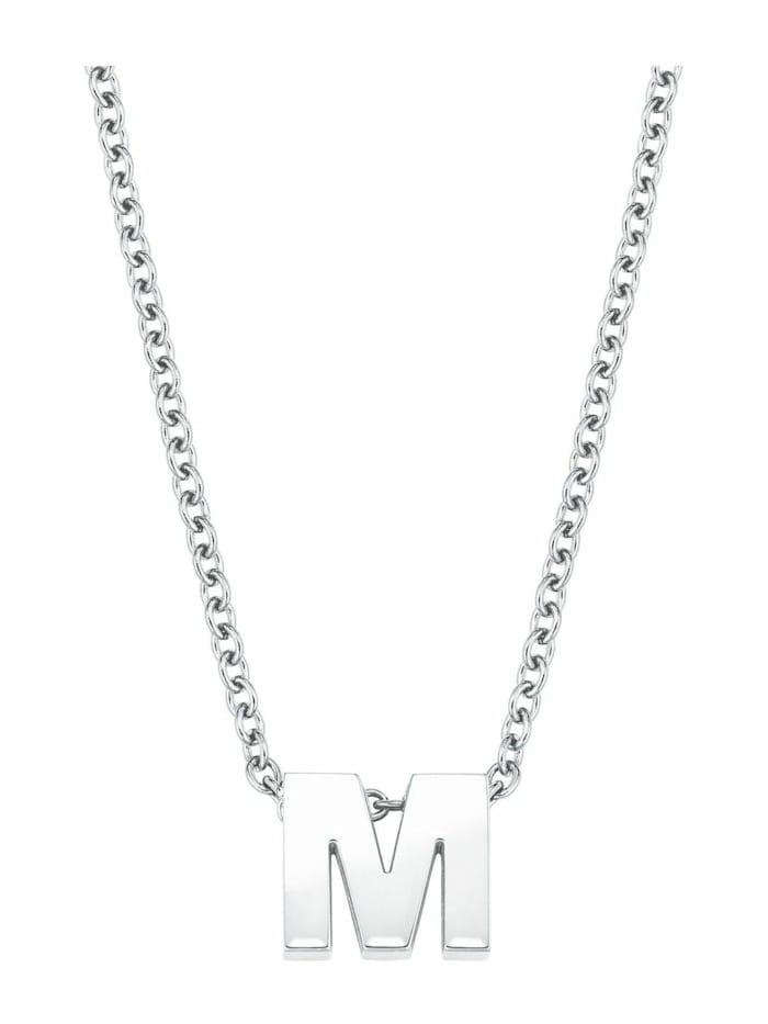 amor Kette mit Anhänger Unisex, Buchstabe M, Letter, Edelstahl glänzend, Silber