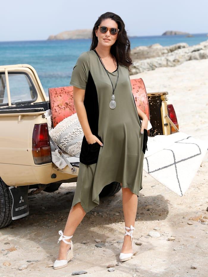 MIAMODA Jerseykleid mit modischen Taschen seitlich, Khaki/Schwarz