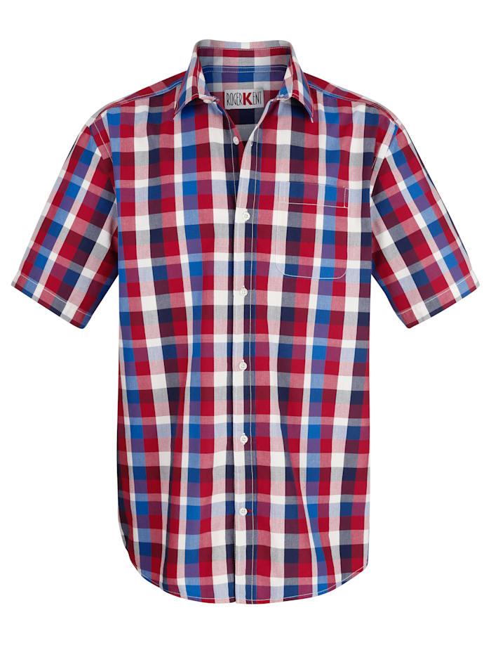Roger Kent Overhemd met ingeweven ruitpatroon, Blauw/Rood