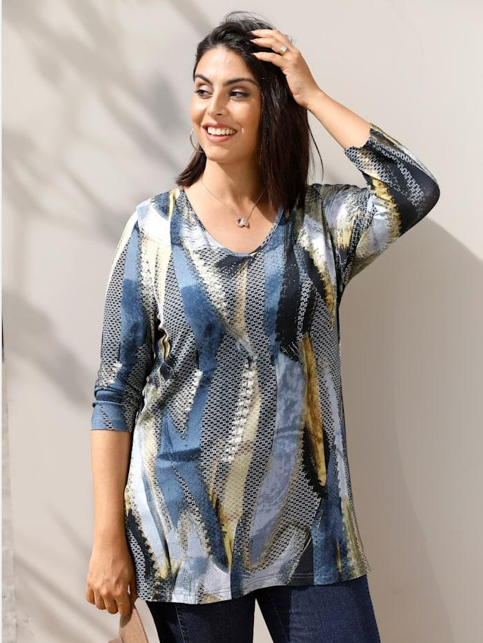 MIAMODA Shirt mit Alloverprint, Blau/Schwarz/Gelb