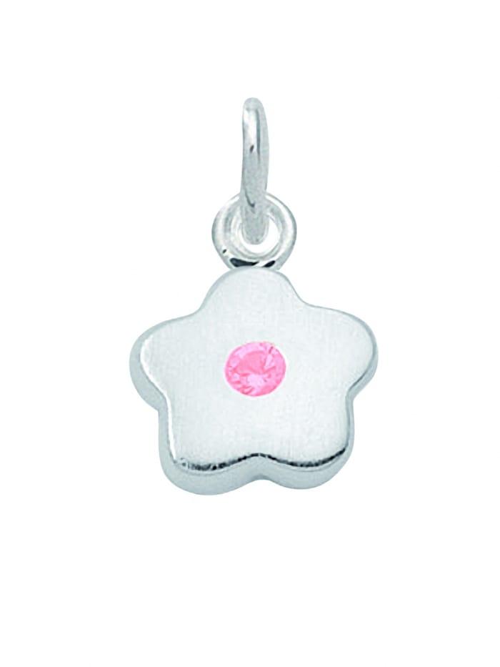 1001 Diamonds Damen Silberschmuck 925 Silber Anhänger Blüte mit Zirkonia Ø 8,3 mm, rosa