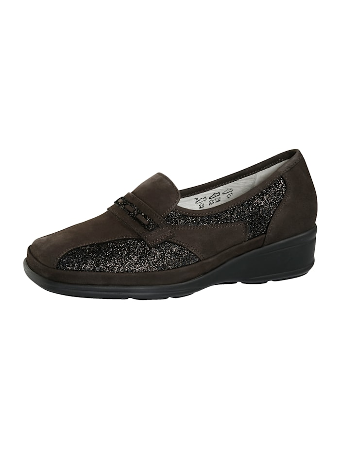 Waldläufer Loafers Made from premium-quality leather, Dark Brown